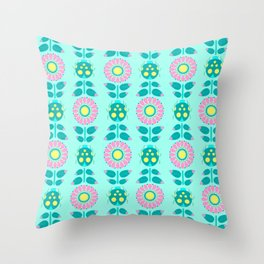 Flowery Lady Bird Throw Pillow