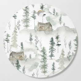 Winter scene houses and trees pattern Cutting Board