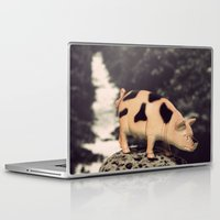 pig Laptop & iPad Skins featuring Pig by BlueMoonArt