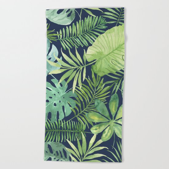 Tropical Branches on Dark Pattern 07 Beach Towel
