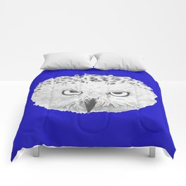 Snowy Owl Bright Blue Comforters
