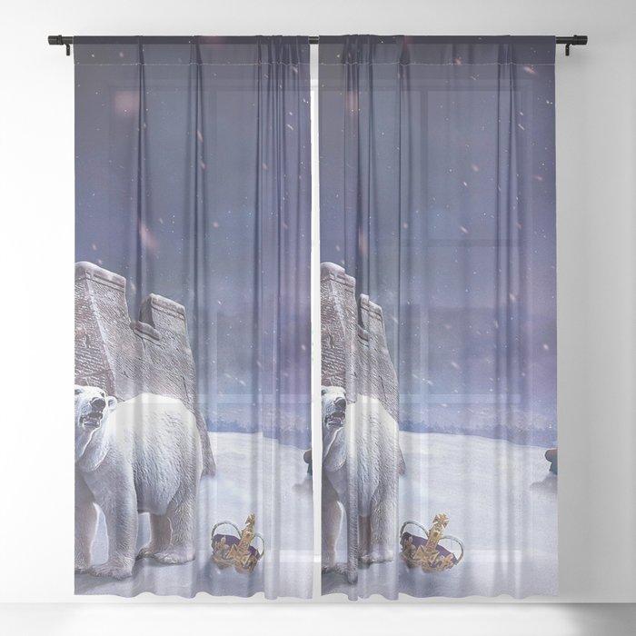 Fantastic Fairytale Snow Bear Chess Figures Surreal Dreamy UHD Sheer Curtain