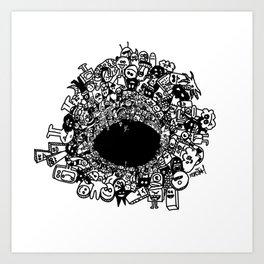 Monsters falling in hole, doodle art Art Print