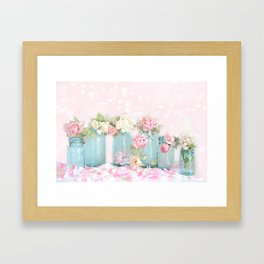 Shabby Chic Aqua Pink Roses Mason Jars Framed Art Print