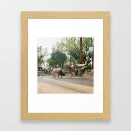 caleche / horse carriage in Marrakech Framed Art Print