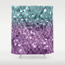 Mermaid Scales on Aqua Purple MERMAID Girls Glitter #2 #shiny #decor #art #society6 Shower Curtain