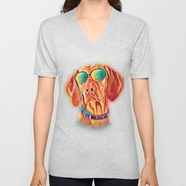 Vizsla Neon Dog Sunglasses Unisex V-Neck