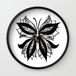 Abstract Butterfly Stipple Shaded Ink Drawing Wall Clock