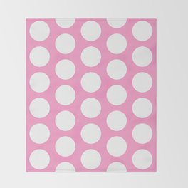 White circles on pink Throw Blanket