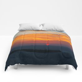 Sunset in Oia Santorini cv Comforters