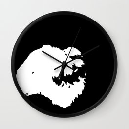 White-and-black dog Wall Clock