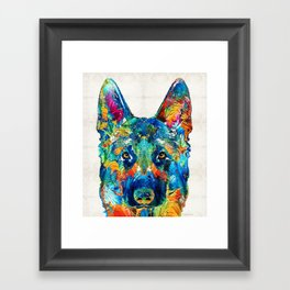 Colorful German Shepherd Dog Art By Sharon Cummings Framed Art Print