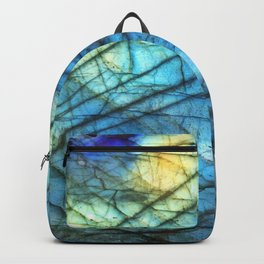 Royal Labradorite Crystal Agate Gemstone Print Backpack