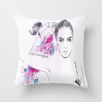 cara delevingne Throw Pillows featuring Cara Delevingne by Megan Sheridan