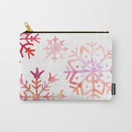 Red Watercolor Snowflakes Carry-All Pouch
