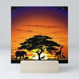 Wild Animals on African Savanna Sunset Mini Art Print