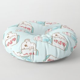 Baby koala with ramune japanese soda in blue  Floor Pillow