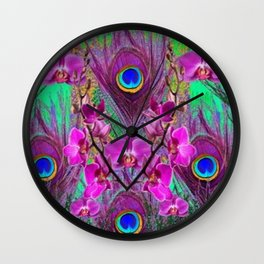 Blue Green Peacock Feathers Fuchsia Orchid Patterns Art Wall Clock