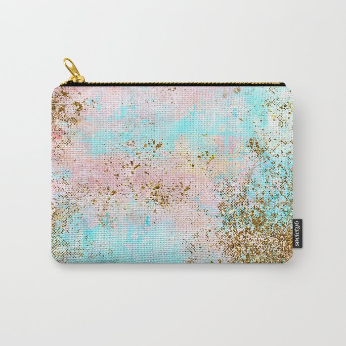 Pink and Gold Mermaid Sea Foam Glitter Carry-All Pouch