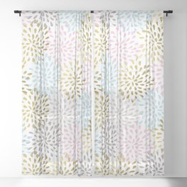 Pastel colors abstract starburst pattern Sheer Curtain