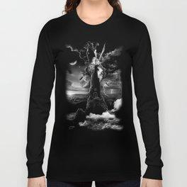 XVI. The Tower Tarot Illustration Long Sleeve T-shirt