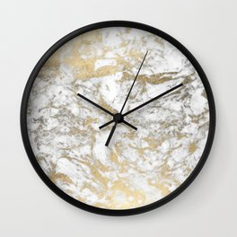 Modern chic faux gold white elegant marble Wall Clock
