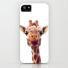 Flower crown giraffe iPhone (5, 5s) Slim Case