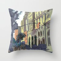 broadway Throw Pillows featuring 73rd & Broadway by Aaron Lampell