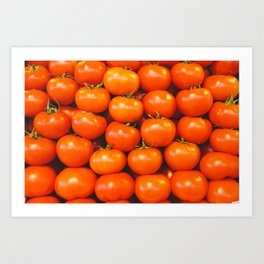 Cute tomato vintage background - organic tomatoes close up view Art Print