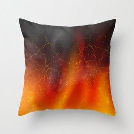 fire on a black background dark decoration Throw Pillow