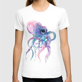 Octopus, Pink purple sea animals design underwater scene painting T-shirt
