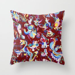 Red Abstract Tapestry Throw Pillow