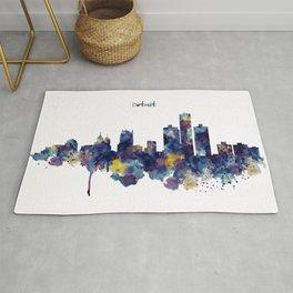 Detroit Skyline Silhouette Rug