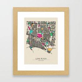 Colorful City Maps: Long Beach, New York Framed Art Print