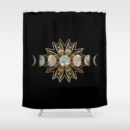 Opal Moon and Gold Stars Shower Curtain