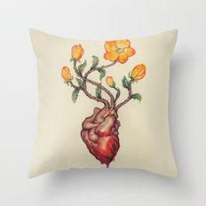 THIS BLEEDING BLOSSOMING HEART: ORANGE WILD ROSE Throw Pillow