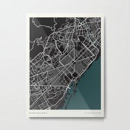 City of Barcelona Map Metal Print