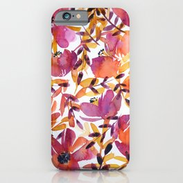 floral pattern: pink and orange iPhone Case