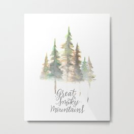 Great Smoky Mountains Watercolor Metal Print