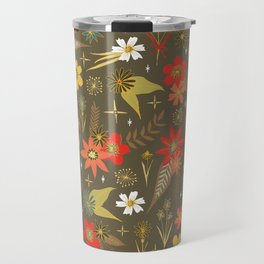 retro floral in funky colors Travel Mug