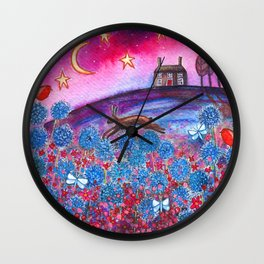 Magenta Skies Wall Clock