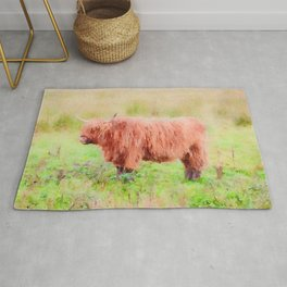 Highland cow watercolor painting #7 Rug