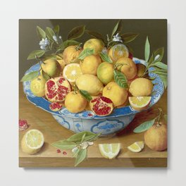 Still Life with Lemons, Oranges and a Pomegranate Metal Print