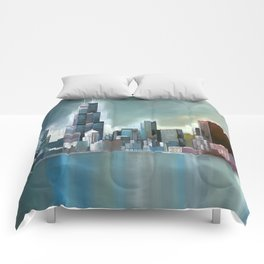 Chicago At Noon Comforters