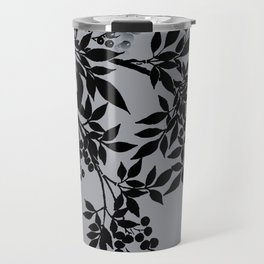 TREE BRANCHES BLACK AND GRAY LEAVES AND BERRIES Travel Mug