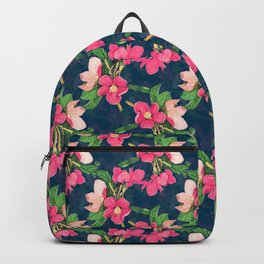 Pink Cherry Blossom Paint Navy-Blue Design Backpack