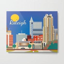 Raleigh, North Carolina - Skyline Illustration by Loose Petals Metal Print