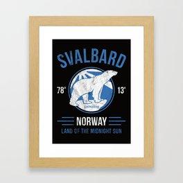 Svalbard Arctic Polar Bear - Midnight Sun in Longyearbyen Norway Framed Art Print
