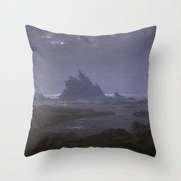 Reefs by the Seashore by Caspar David Friedrich Throw Pillow