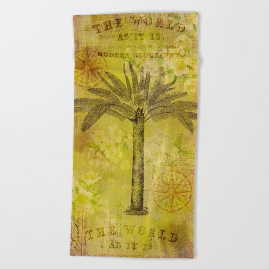 Vintage Journey palmtree typography travel collage Beach Towel